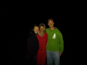Photo: Jeanette, Trina, and Andrew at the end of Mackenzie Beach after a late-night campfire