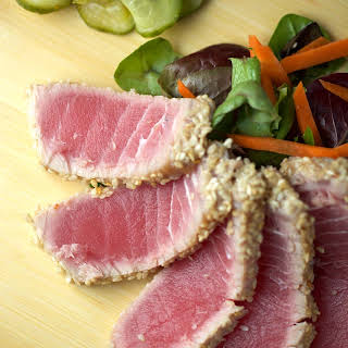 Sesame Crusted Ahi Tuna with Soy Ginger Lime Sauce.