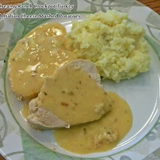 Creamy Ranch Crockpot Turkey with Italian Cheese Mashed Potatoes