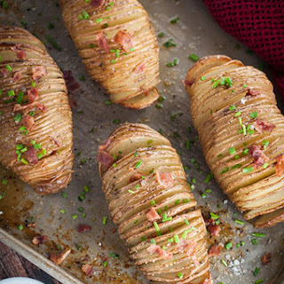 Hasselback Potatoes with Bacon Bits.