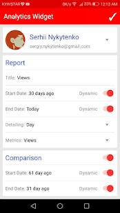 Widget for YouTube Analytics - náhled