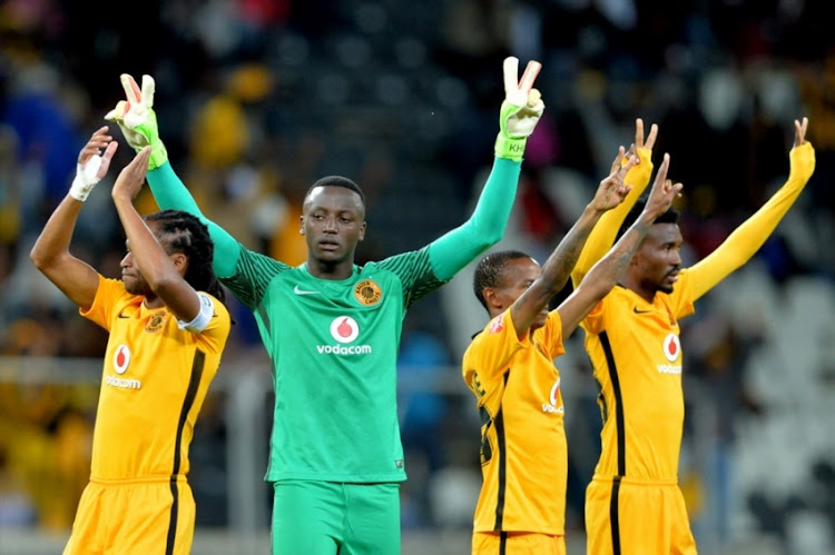 Bruce Bvuma with teammates during the Absa Premiership match between SuperSport United and Kaizer Chiefs at Mbombela Stadium on April 29, 2017 in Nelspruit, South Africa.