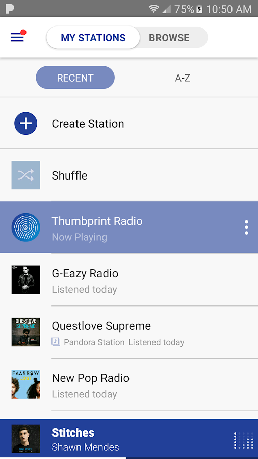 Screenshots of Pandora for iPhone