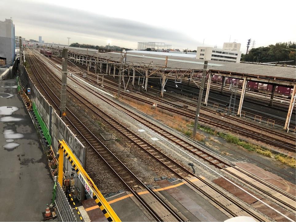 羽沢貨物駅周辺の線路