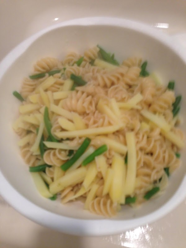 Reserve 1/2 cup of pasta water.  Drain pasta, potatoes and green beans in...