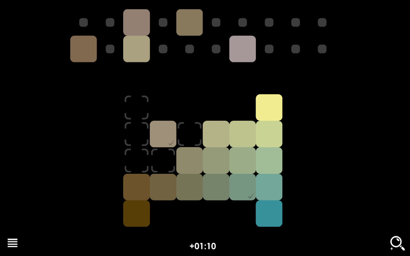 Game color theory - Blendoku 2 Screenshot
