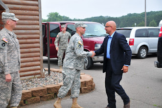 Photo: Pjer ŠIMUNOVIĆ, State Secretary in the Ministry of Defense of the Republic of Croatia, is greeted July 14  by Minnesota Army National Guard Lt. Col. Todd Kubista, Camp Ripley deputy post commander, as he arrives at Cabin Fever, a restaurant in Little Falls, Minn.  The secretary is having dinner with a group of Croatian soldiers who are taking part in the Partners for Peace program with 2nd Battalion, 136th Combined Arms Battalion at Camp Ripley, Minn.(Camp Ripley photo by 1st Lt. Kenneth R. Toole)(Released)