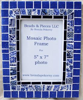 "MOF1464 Blue and White 5"" x 7"" Mosaic Photo Frame"