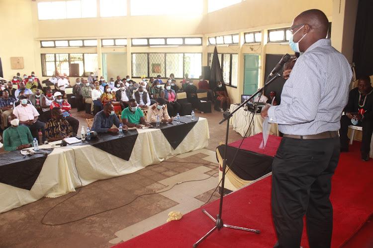 Wasee wa Zamo CBO chairman Patrick Rugo makes his address at the Jericho Social Hall