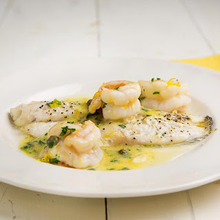 Black Sea Bass with Shrimp in a Lemon Scampi Sauce.