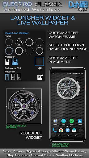 Electro Plasma HD Watch Face Widget Live Wallpaper 4.9.4 screenshots 2