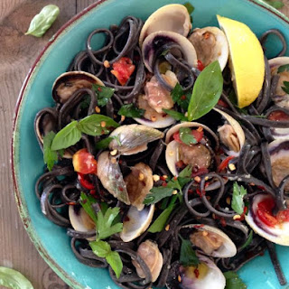 Squid Ink linguine and Clams