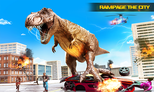 angry dino attack city rampage: wild animal games screenshot 1