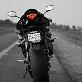 Yamaha R1 by Sudheer Hegde - Transportation Motorcycles ( b&w, red, motorcycle, 50mm, road, sudheer, nikon )