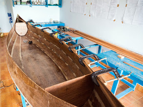 Photo: dry-fitting the starboard inner gunwales, just to get the wood into shape, no glue yet