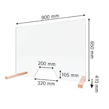 Hygiene- und Hustenschutz, 5 mm Sicherheitsglas (ESG), transparent, 650 x 900 mm