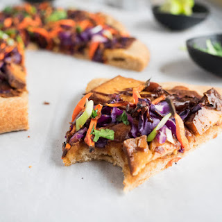 Thai Pizza with Baked Tofu and Peanut Sauce.