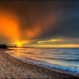 sunset on Issyk-Kul by Petr Klingr - Landscapes Sunsets & Sunrises ( waves, hdri, sunset, kyrgyzstan, clouds, lake )