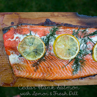 Cedar Plank Salmon with Lemon and Fresh Dill.