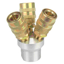 """Photo: 3-Way Quick Coupling Manifold  ~$10 This coupling manifold is designed to simplify multiple tool operations. 1/4"""" industrial standard coupler with 3/8"""" inlet Allows three work stations to use the same air supply Durable aluminum and brass construction 1/4"""" NPT air outlet 3/8"""" inlet"""