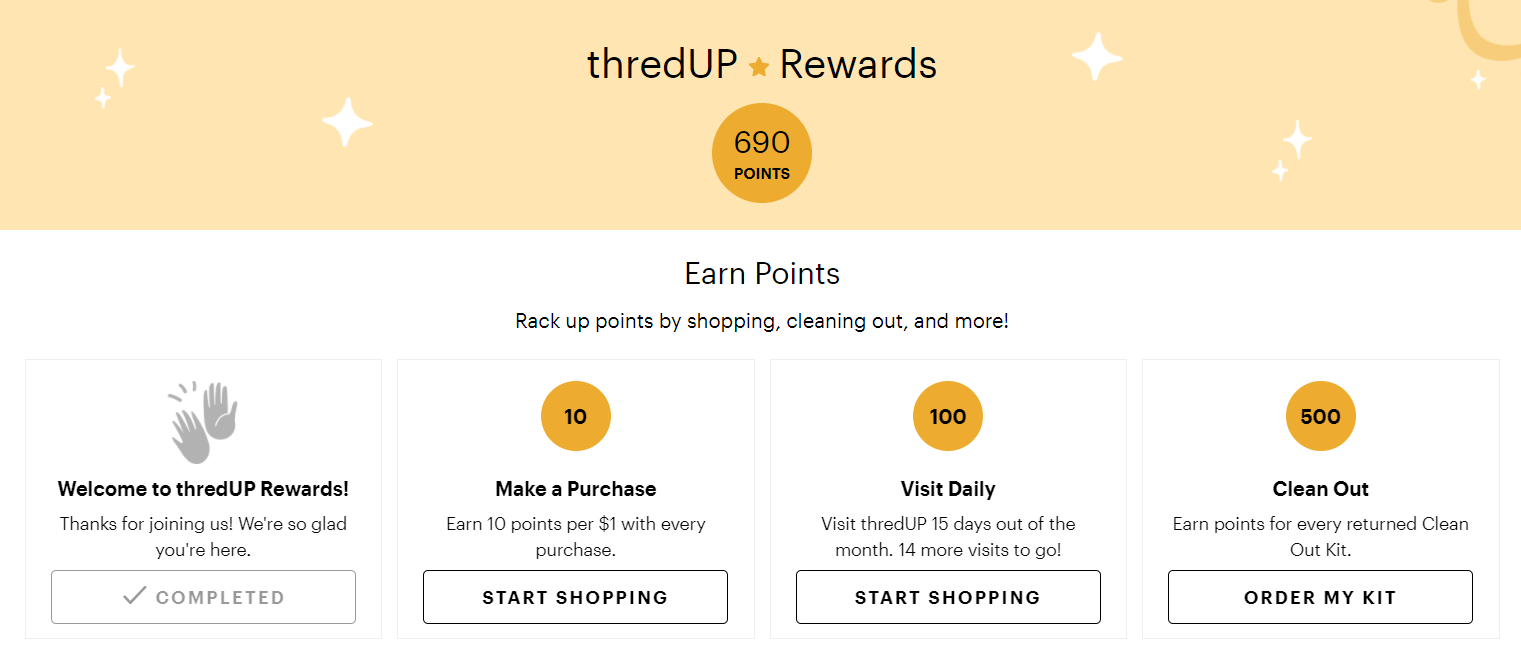 The thredUP rewards page showing how users can earn and spend points.