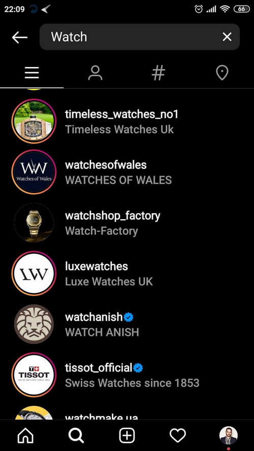 accounts on Instagram that have watch in their name