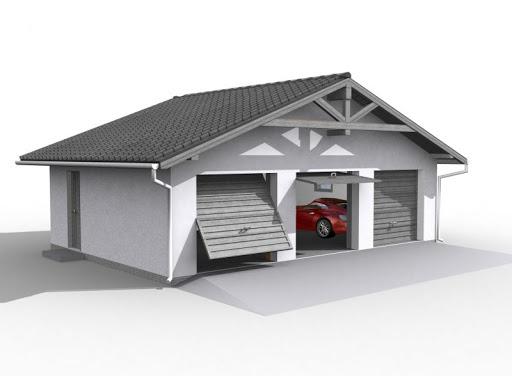 projekt G5 szkielet drewnniany, garaż trzystanowiskowy