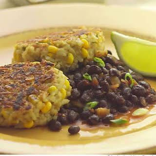 Rice & Corn Cakes With Spicy Black Beans.