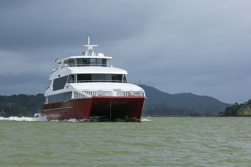 Yacht-crossing-Panama-Canal.jpg -  A yacht crosses the Panama Canal. Ship crossings can run well into the six figures for a full transit.