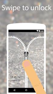 Silver Glitter Zip Locker  - zipper Screen theme - náhled