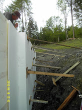 """Photo: ... Recycled 7"""" EPS on far left, 1"""" EPS to make 8"""" next; 8"""" ouside layer next & braced; all fastened w/ spots or seams of EPS sprayfoam adhesive ..."""