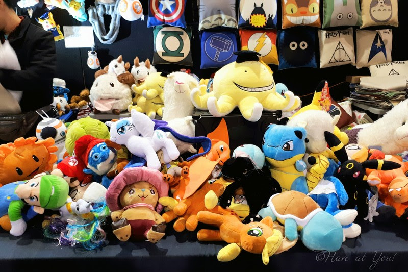 plushies being sold at Armageddon