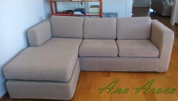 Funda a medida para sofá chaise-longue.