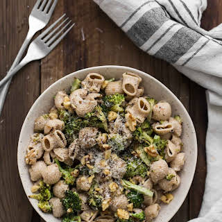 Roasted Broccoli Pasta with Goat Cheese Sauce.