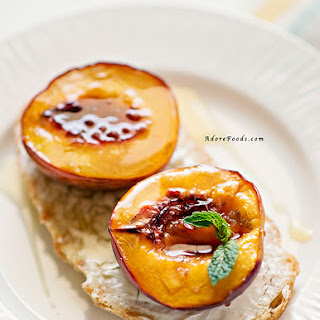 Juicy Roasted Nectarine Breakfast Bruschetta.