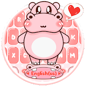 Pink Cute Hippo Keyboard Theme