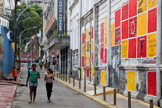 Photo: Government Encouraged Graffiti  In the Lapa neighborhood of Rio de Janiero Brazil, the government has taken to putting up colorful squares on public walls for the purpose of allowing the general public to create street art.  Notice the Michael Jackson tribute on the 3rd row from the top, 2nd square (red) over. This photo was taken shortly after MJ passed away.  #streetartsunday curated by +Peter Tsai +Mark Seymour +Luís Pedro   #graffiti #brasil #brazil #streetart #travel