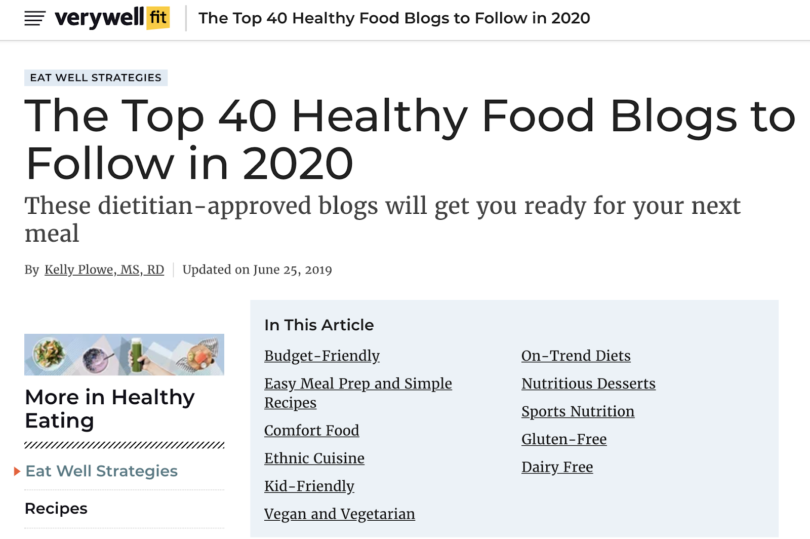 top healthy food blogs example