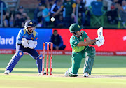 Reeza Hendricks of South Africa loses his wicket during the 4th Momentum ODI match between South Africa and Sri Lanka at St Georges Park on March 13, 2019 in Port Elizabeth, South Africa.