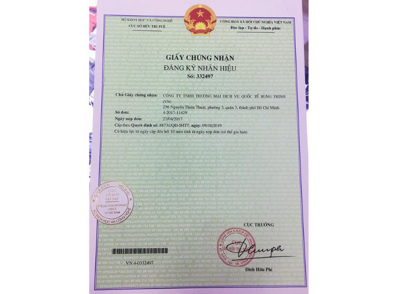 Đồng hồ Hưng Thịnh là nhãn hiệu đã được đăng ký và chứng nhận bởi Cục sở hữu trí tuệ Việt Nam