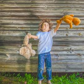 A Boy & His Bears by Chris Cavallo - Digital Art People ( candid, teddy bear, boy, jeans, digital art )