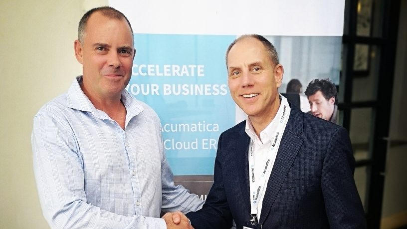Left: Gerrit Olivier, CEO of About IT and Jon Roskill CEO of Acumatica.