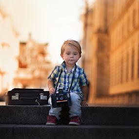 My polaroid by Piotr Owczarzak - Babies & Children Children Candids ( stairs, london, suitcase, camera, children, trip, boy, sun )