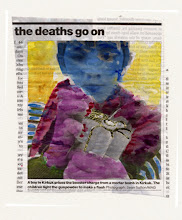 Photo: The Deaths Go On. Water color and gold leaf on newspaper, (110 x 129 mm).