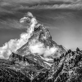 Matterhorn, Switzerland by Russ Quinlan - Black & White Landscapes ( black and white, zermatt, switzerland, matterhorn, ansel adams )