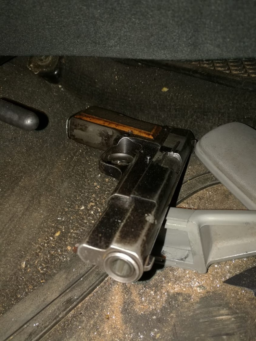 One of the stolen firearms found inside the car after a shootout with police