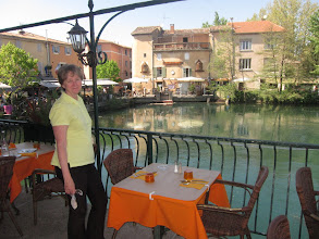 Photo: We start our Provence walk in the island town of Isle-sur-Sorgue, surrounded by the clear waters of the Sorgue river.