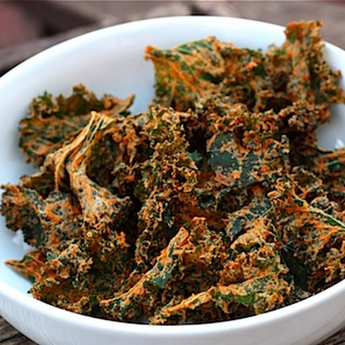 Spicy and Cheesy Kale Chips