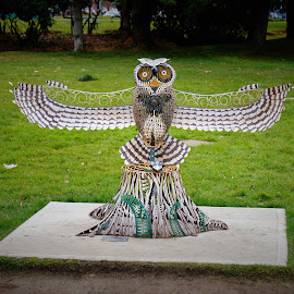 Great Horned Owl by Carol Leynard - Artistic Objects Other Objects ( sculpture, owl, metal owl, bird sculpture, great horned owl )