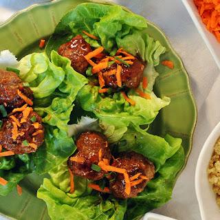 Asian Meatball Lettuce Wraps.